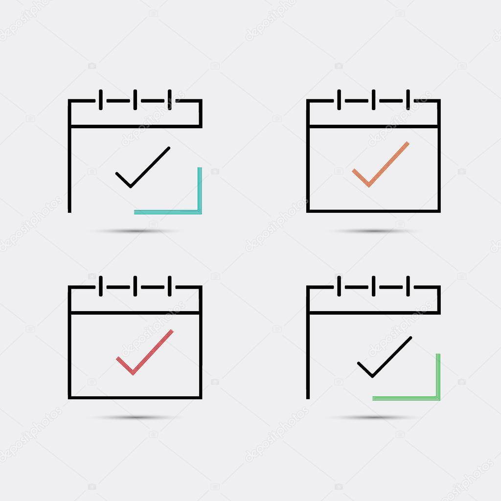 Calendrier A Cocher.Icone De Calendrier Case A Cocher Image Vectorielle