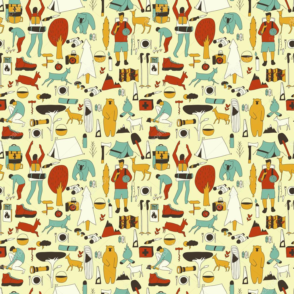 yellow camping pattern