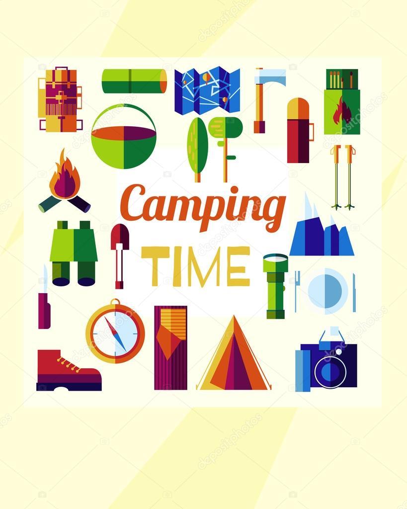 plano camping tiempo — Vector de stock © LittleAirplane #116851796