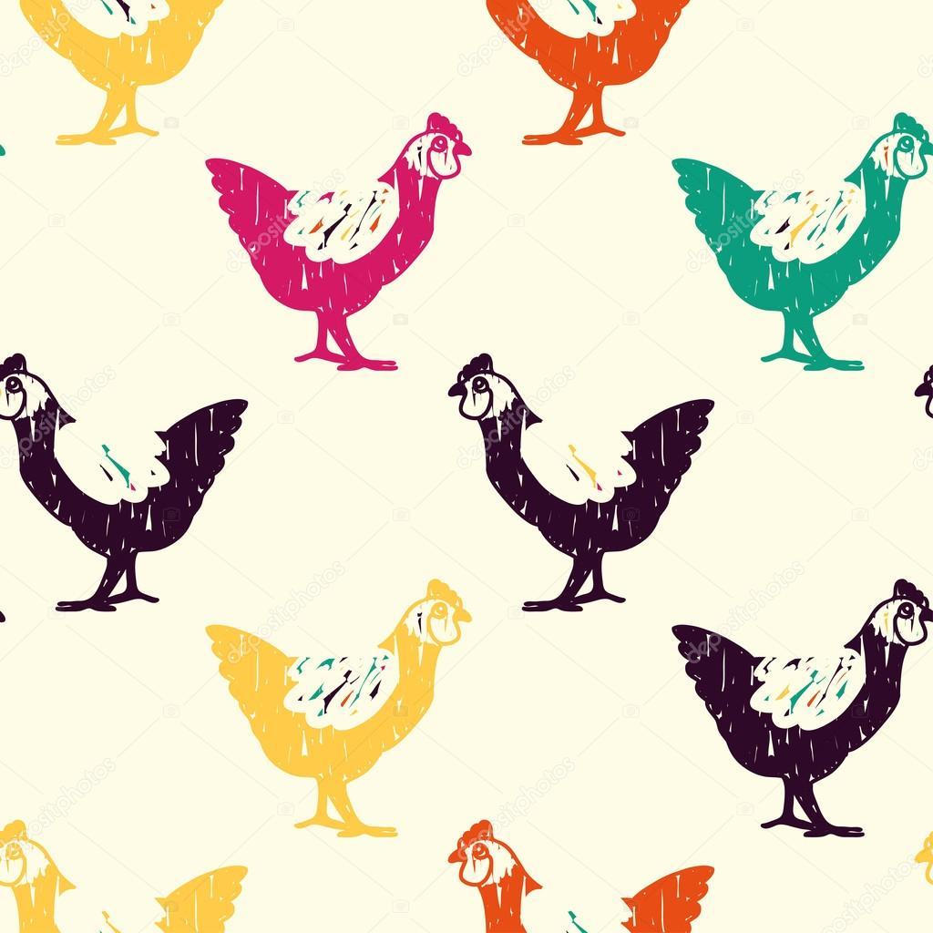 patrón de doodle color pollo — Archivo Imágenes Vectoriales ...