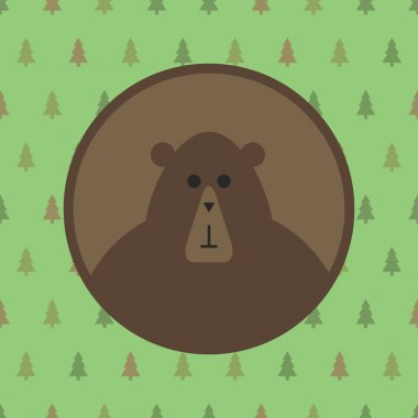 Bear icon with forest background