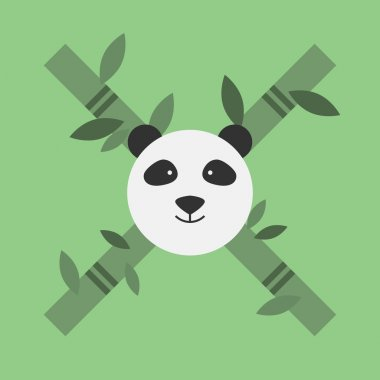 Panda face, with bamboo X symbol.