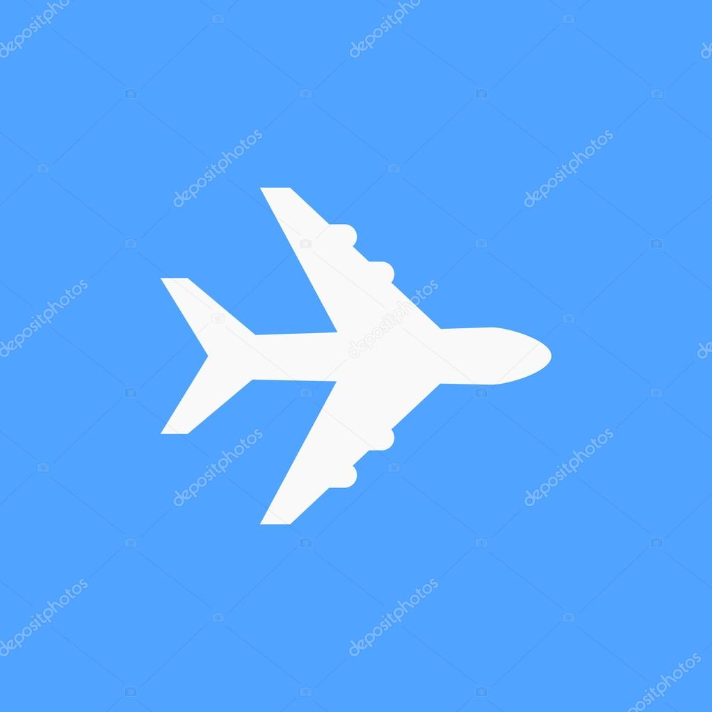 white airplane symbol on blue background � stock vector