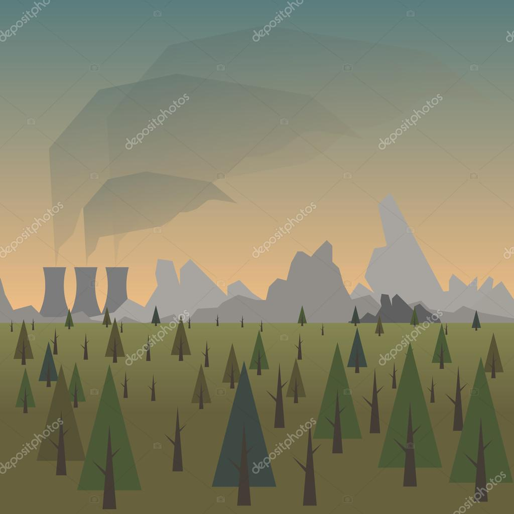 Forest and power plant pollution