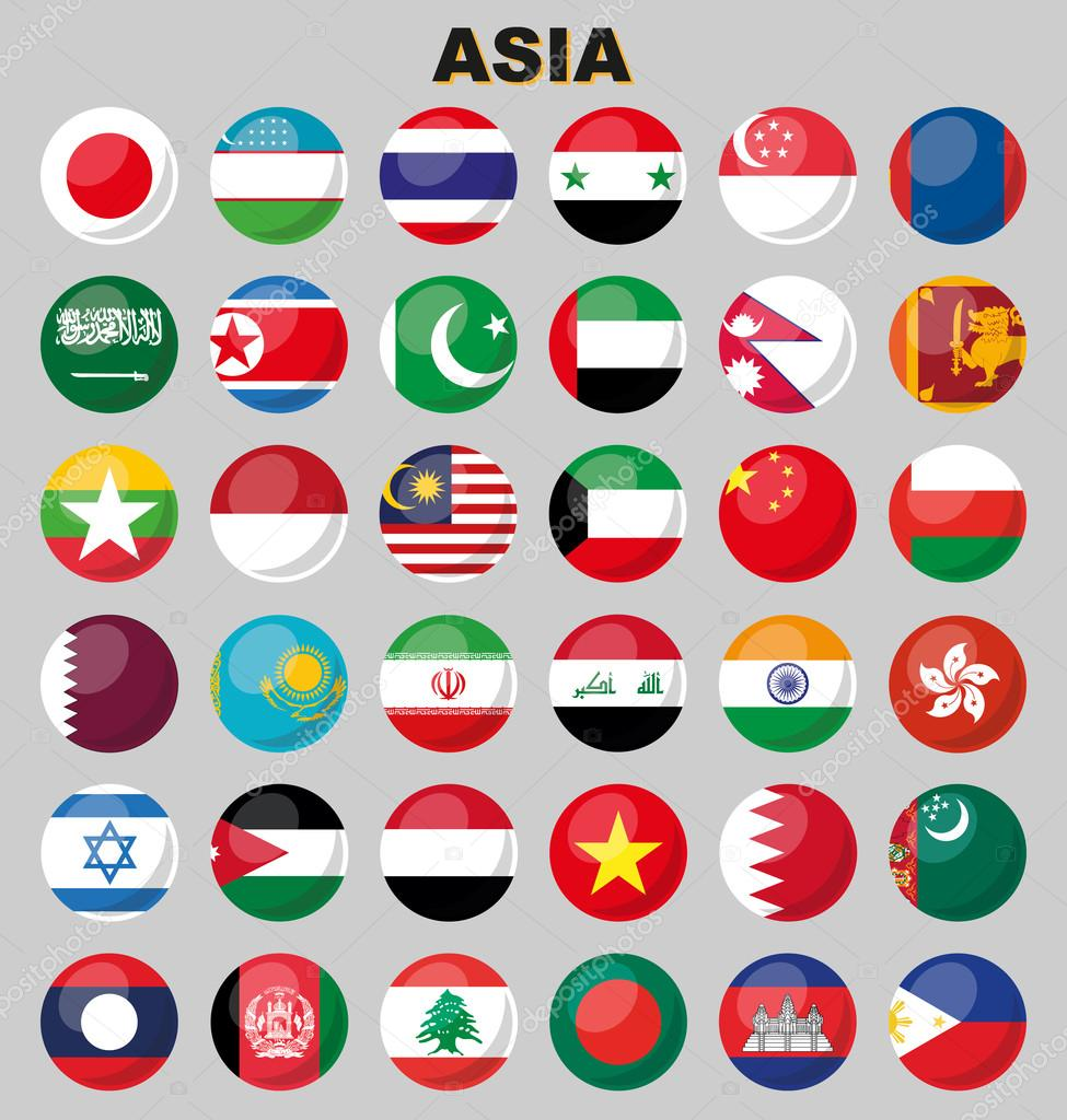 Flags of Asia. 36 perfectly correct flags.