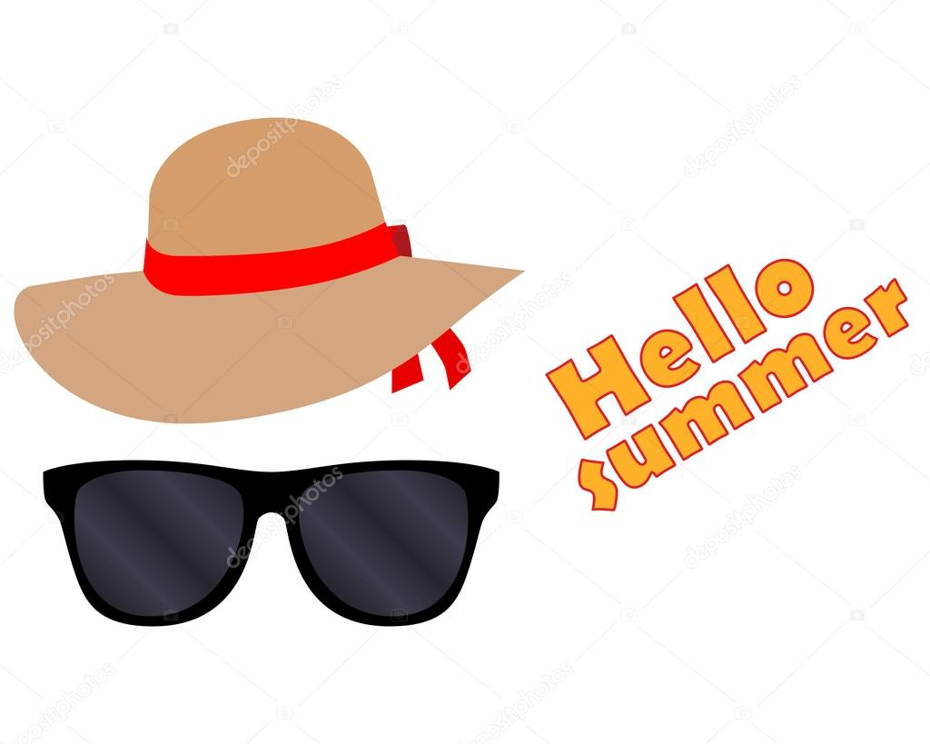 af68e2787fb glasses and hat. Hello summer. — Stock Vector © chel11  111437352