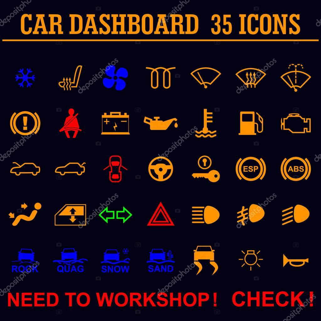indicadores de panel salpicadero coche  u2014 vector de stock