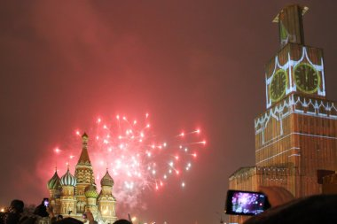 Moscow fireworks on New Year evening, outdoors