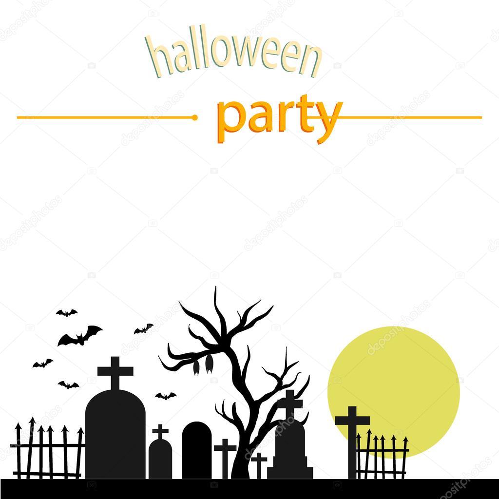 Halloween graveyard at night. Full moon. Halloween party ...