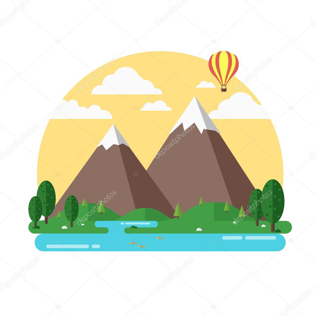 Viaje montañas isla paisaje y vela color plano vector icono ...
