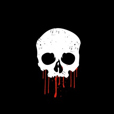 Skull with blood on black background vector