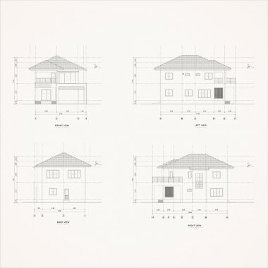 4 elevation house Drawing