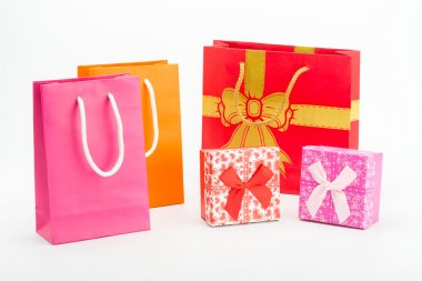 Paper shopping bags and gift box
