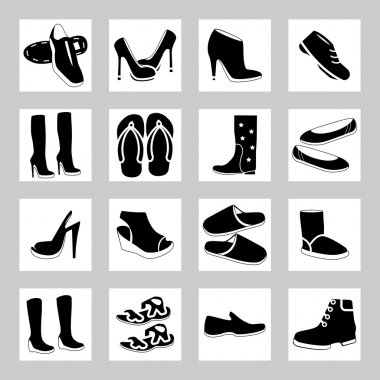 Shoes icon set. Silhouettes collection.