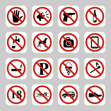 Prohibition signs, no symbols vector icon set