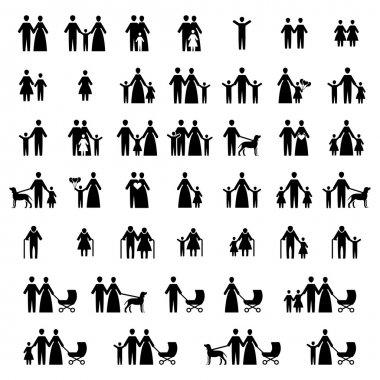 Family vector icon set