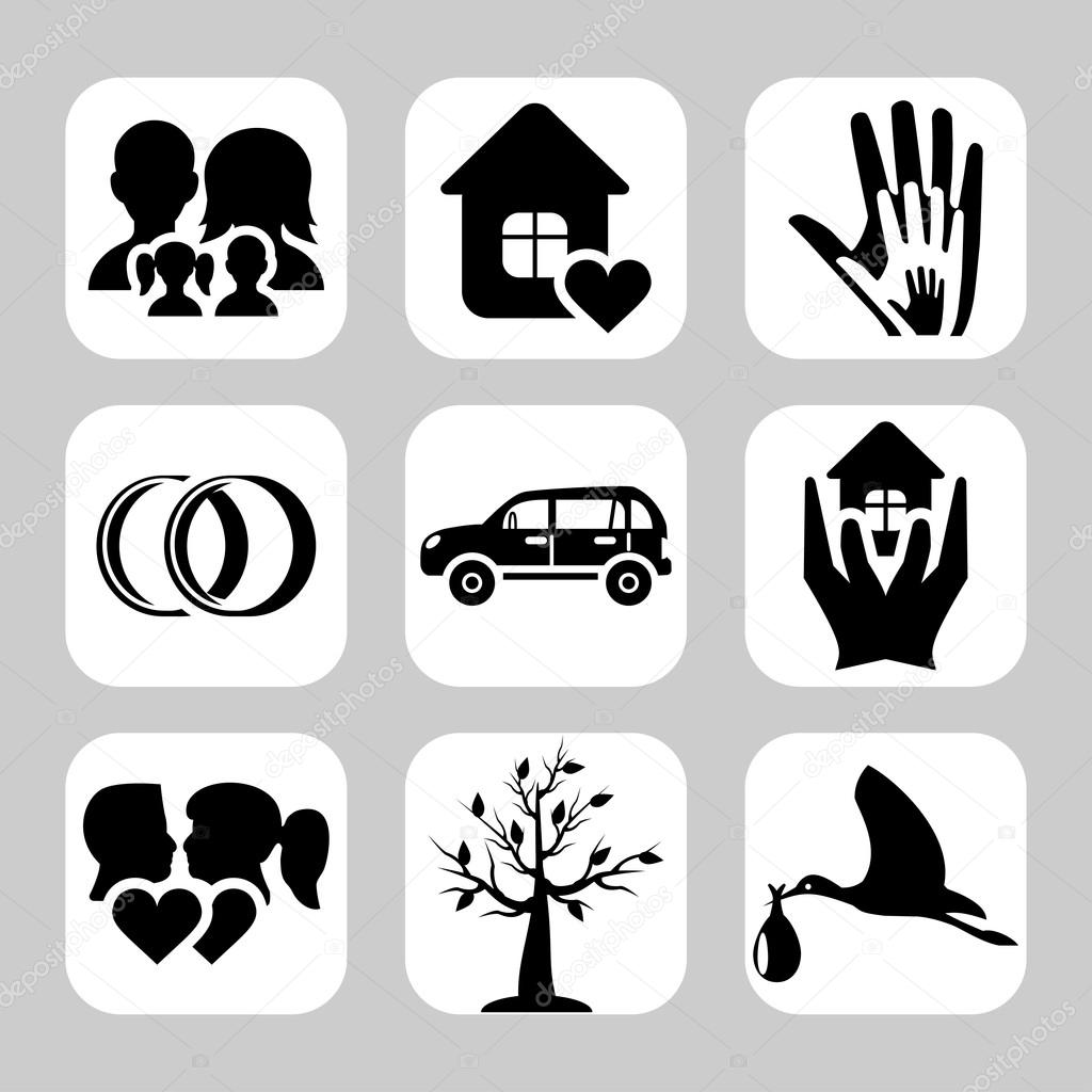 Family icons: vector set of home, love, baby, engagement ...
