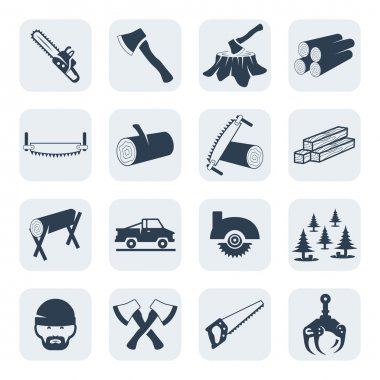 Vector lumberjack and sawmill icons set