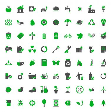 Ecology and environment vector icons set