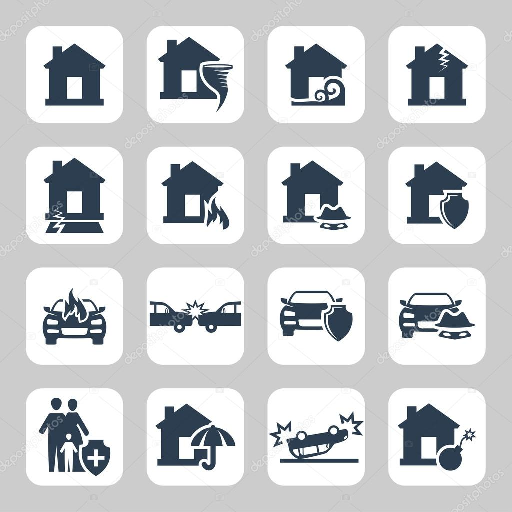 Insurance and accidents vector icon set