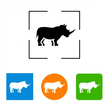 Simple icon, silhouette of a rhinoceros.