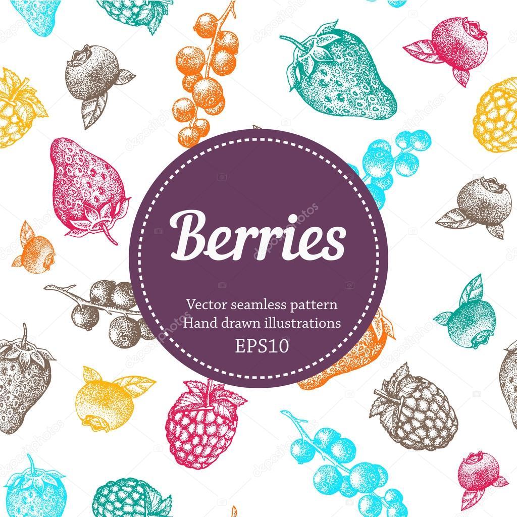 Berry, strawberry, blackberry, currant, raspberry, hand drawn seamless vector pattern. Nature organic illustration.