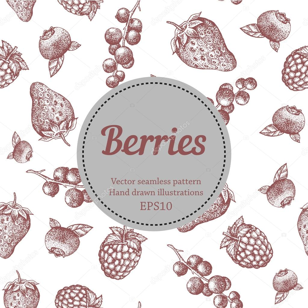 Berry, strawberry, blackberry, currant, raspberry, hand drawn seamless vector pattern. Nature organic illustration.