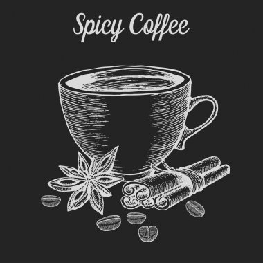 Coffee cup with spice, bean, cinnamon, star anise. Natural organic caffeine drink. Hand drawn vector illustration on chalkboard background.