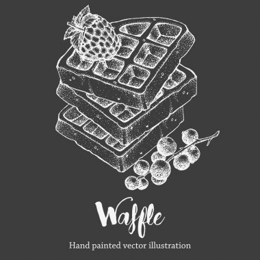 Waffle sweet hand drawing vector sketch illustration on chalkboard