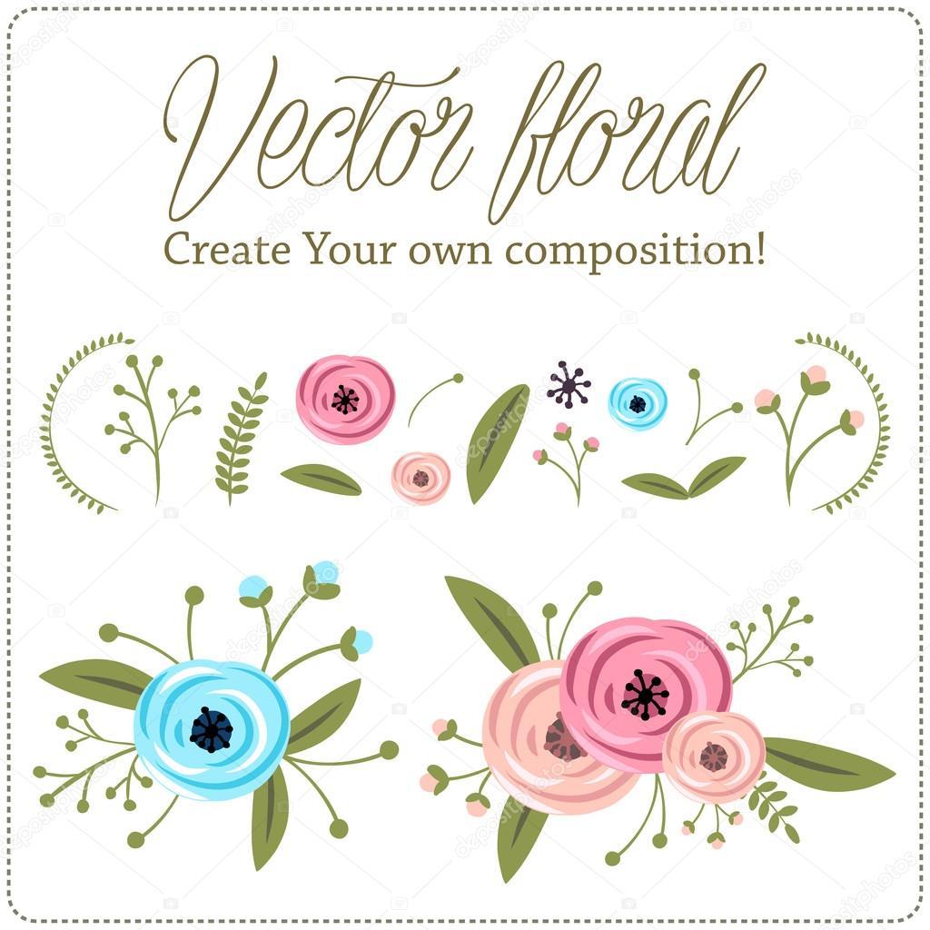 Rose flower floral leaf, branch, border vector part element set illustration