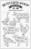 Fotografie Cutting meat diagram guide cut scheme in vintage style. Chalk illustration graphic element for menu, banner. Steak cow pig chicken rabbit turkey goose duck lamb divided pieces. Silhouettes of animals.