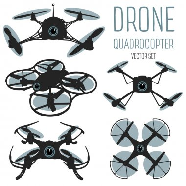 Drone quadrocopter set. Drone with action camera and remote control isolated sign. Drone logo, badge, emblem and design element. Quadrocopter store, repair & service logotype. Flying quadcopter. Vecto