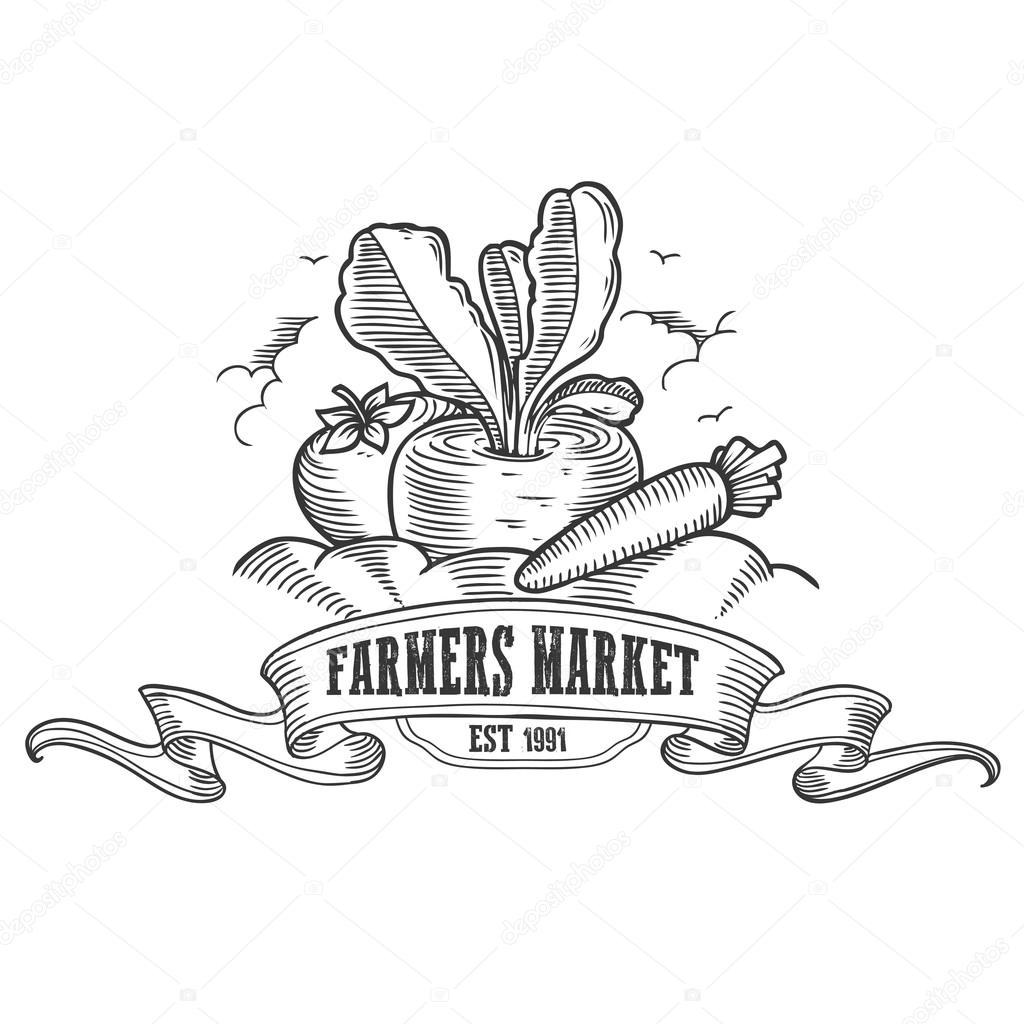 Farmers market badge. Monochrome vintage engraving fresh organic vegetables sign isolated on white background. Sketch vector hand drawn illustration.