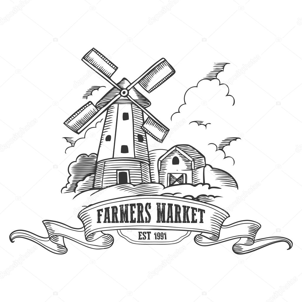 Farmers market badge. Monochrome medieval farm windmill ...