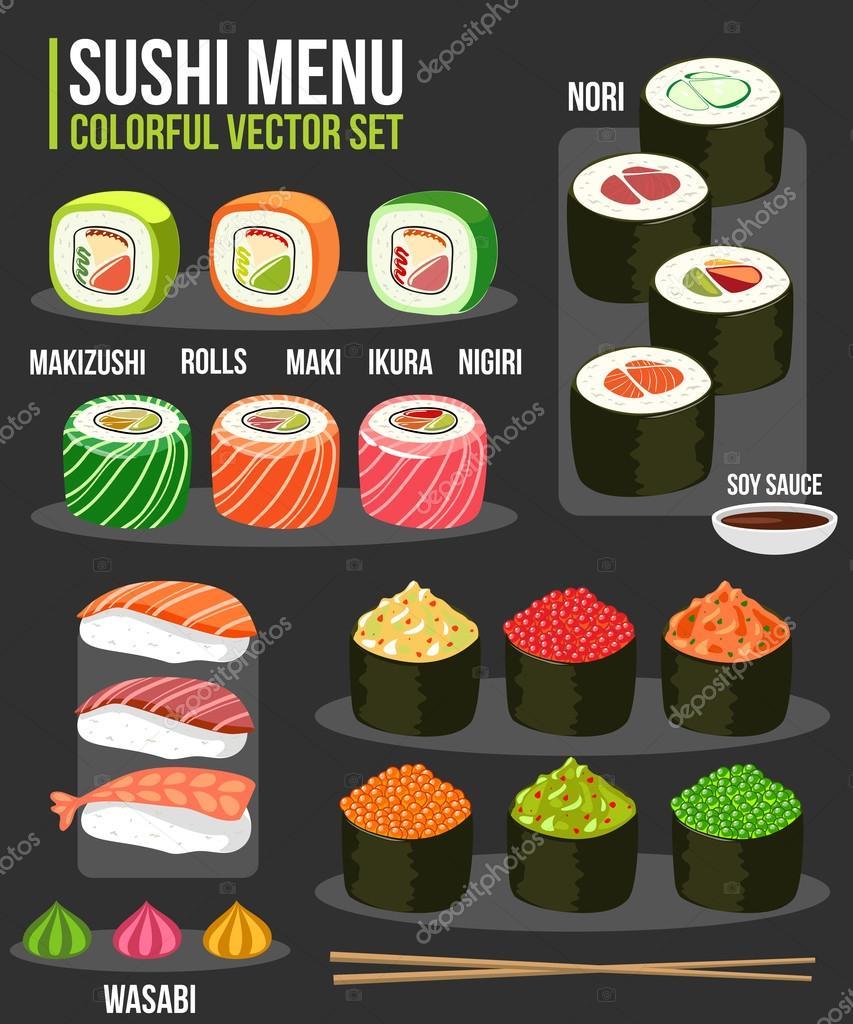 Sushi-Satz verschiedener Arten in verschiedenen japanisches Essen ...