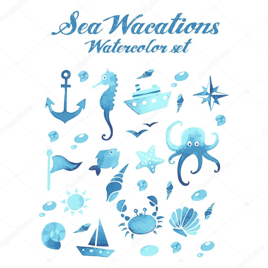 Sea wacations watercolor vector set