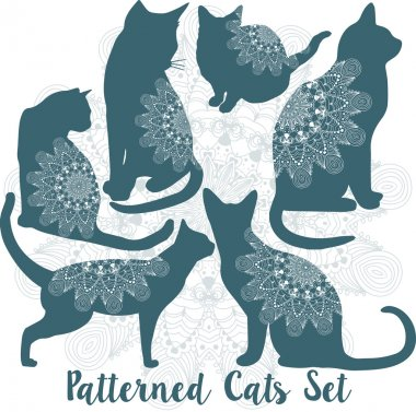 Vector patterned cats set with indian ornaments