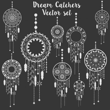 Dream catchers vector patterned set