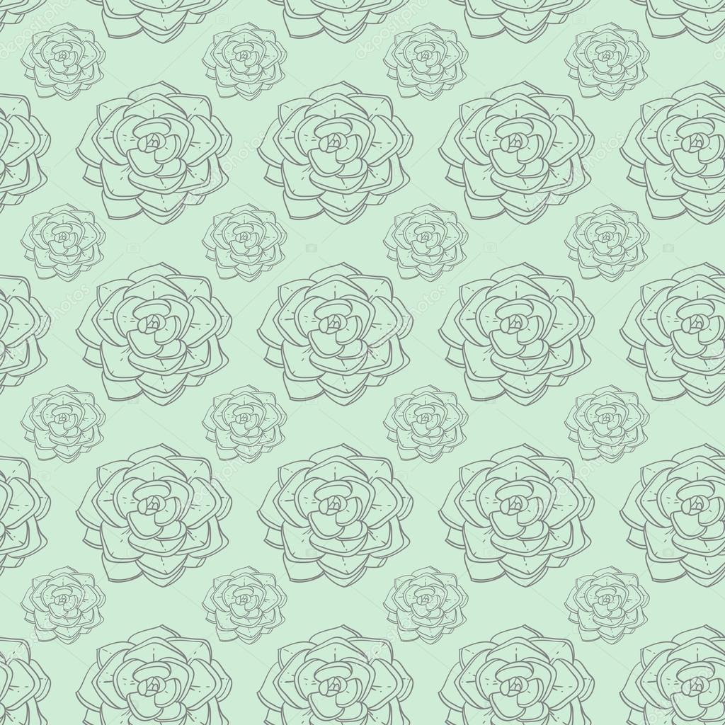 Succulents and cactus vector handpainted seamless pattern
