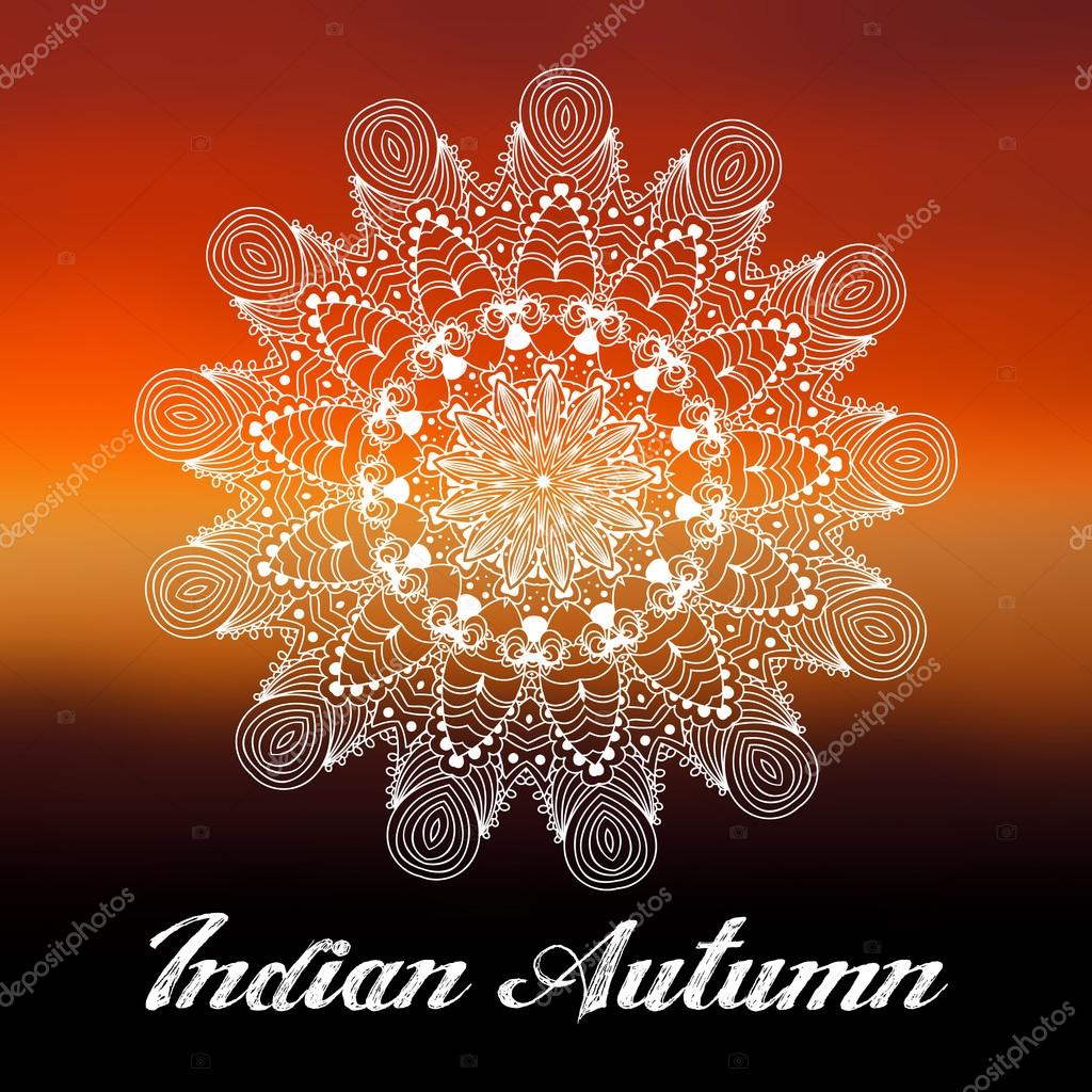 Ornament beautiful autumn card with mandala. Geometric circle element made in vector. Perfect cards for any other kind of design, birthday and other holiday, kaleidoscope, medallion, yoga, india, arab