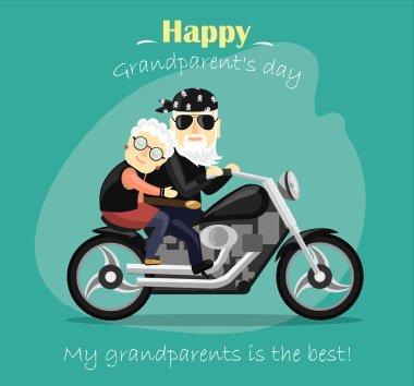 grandma and grandpa riding a motorcycle