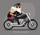 Fotografia nonna e nonno in sella a una moto