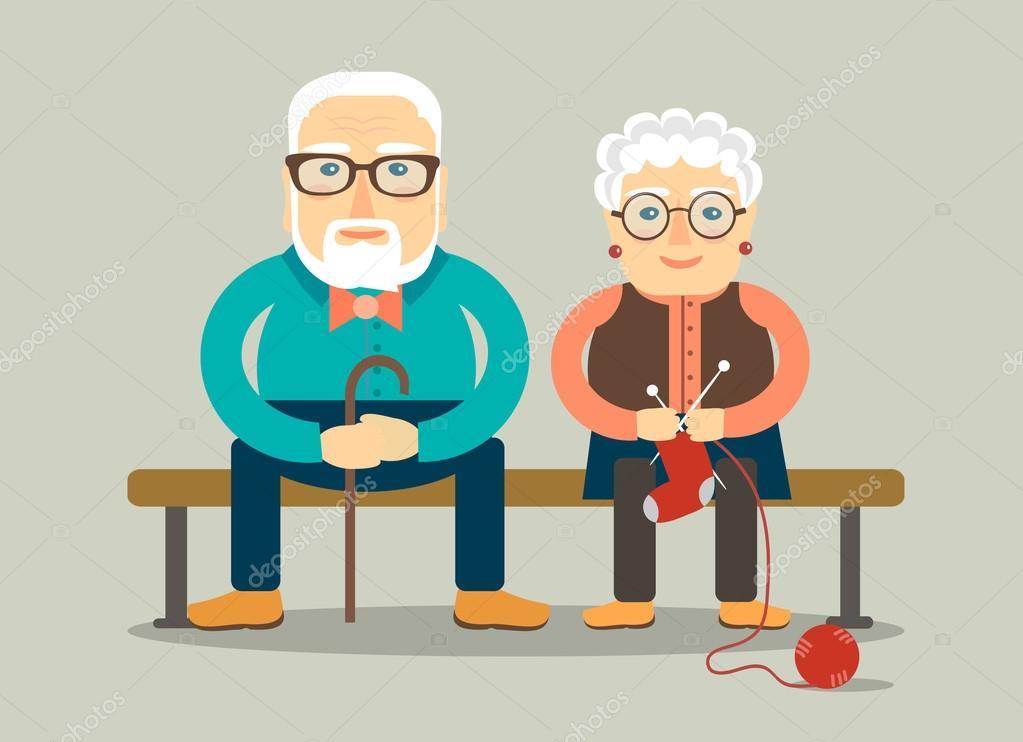 Opa Und Oma Auf Der Bank Sitzen Stockvektor Kkn2118 98698830