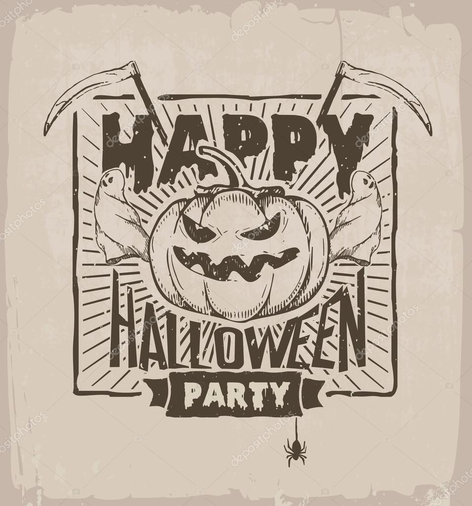 Halloween Party Banner With Pumpkin Ghosts And Scythe Stock Vector
