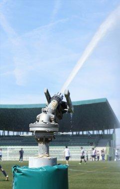 Watering turf on a football stadium