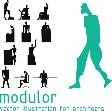 Androids silhouette inspired on Le Corbusier modulor. Vector illustration