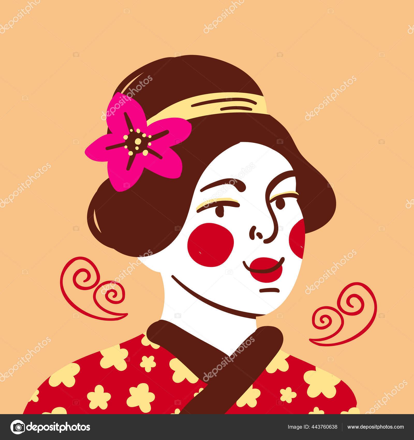Lukisan Wanita Jepang Yang Cantik Dengan Kimono Tradisional Gaya Rambut Stok Vektor C Daryakozlova 443760638