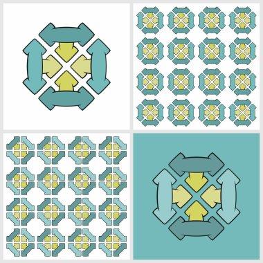 Arrows Four Decorations & Endless patterns (color)