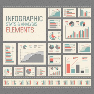 Stats and analysis infographic elements icon set