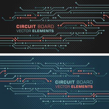 Circuit Board Computers Decor Elements in 2 variants: black and blue